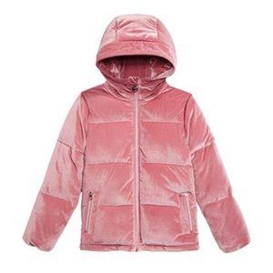 Michael Kors Girls Hooded Velvet Puffer Jacket